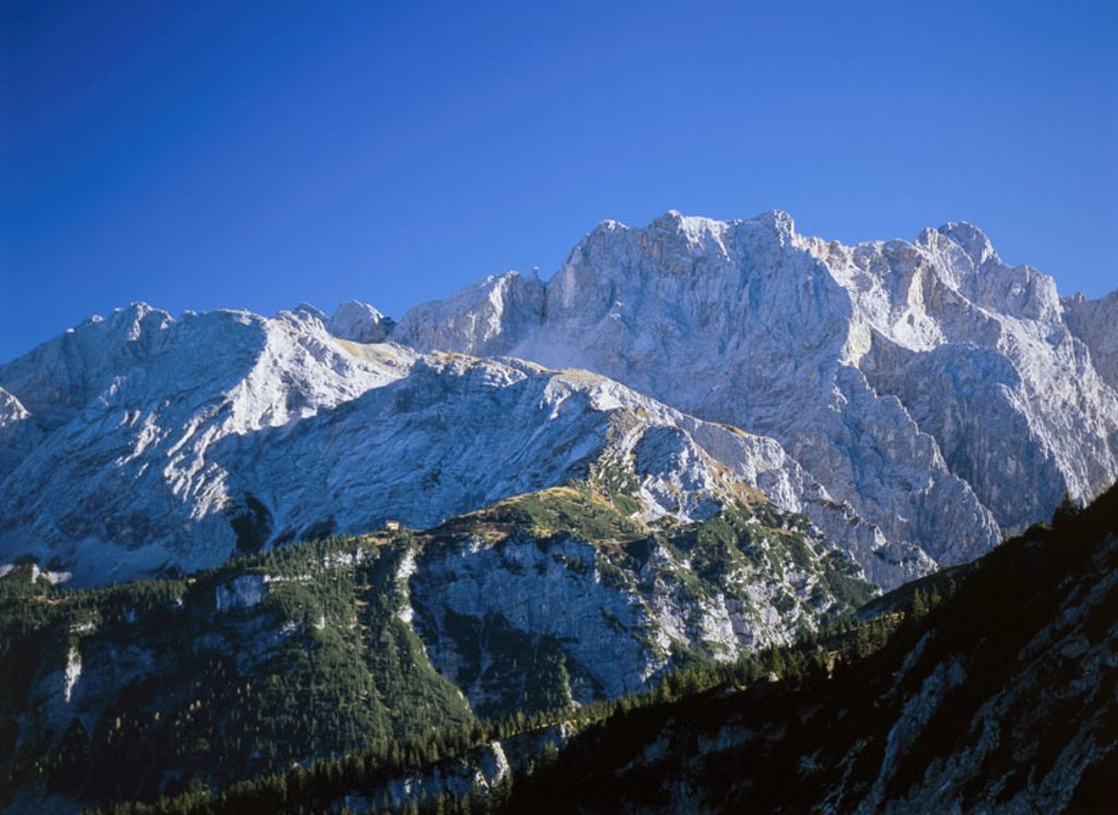 Germany, Bavaria,  Garmisch-Partenkirchen, highland,  Weather stone mountains, Dreitorspitze,  Southern Germany, Upper Bavaria, alpine upland, Werdenfelser country, Bavarian Alps, mountains, mountains, summits, Partenkirchner Dreitorspitze, Leutascher Dre : Stock Photo