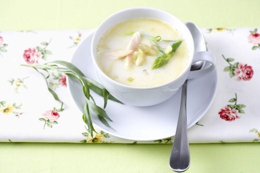 Asparagus soup, salmon strips,    Table, napkin, flower patterns, peel, soup bowl, soup, asparagus salmon soup, soup insole, asparaguses, salmon, food, warmly, appetizer, nutrition healthy, quietly life, fact reception, : Stock Photo