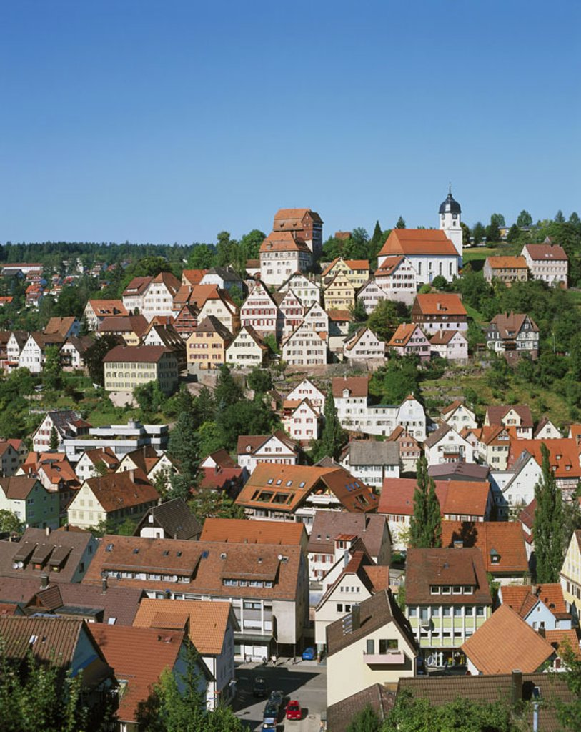 Stock Photo: 1558-91998 Germany, Baden-Württemberg,  Elderly steep track, view at the city,   Series, Europe, Black forest, city, sight, houses, residences, church, season, summer,