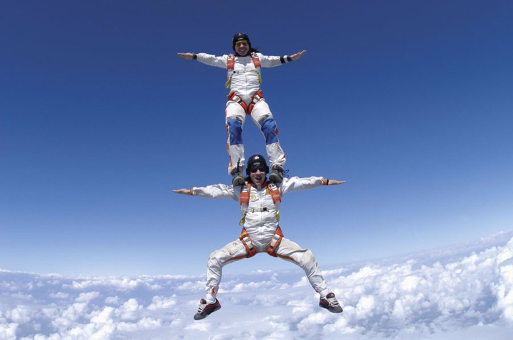 Skydiver, suitors case, acrobatics,,  one on the other,   Men, Fred Fugen, Vincent Reffet, parachutists, athletes, extreme athletes, sport, extreme sport, parachute jump, parachute skip, Babylon Freefly, Skydive, figures, movement, Skydiving, adventures, : Stock Photo