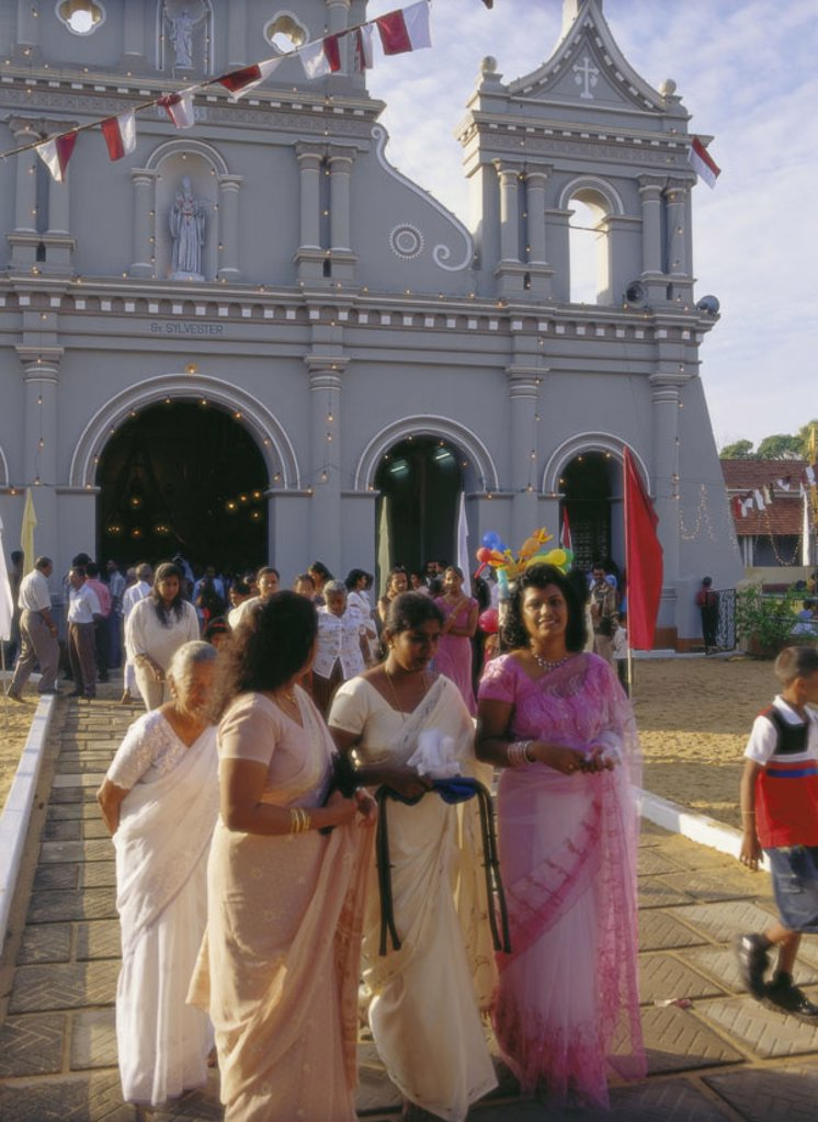 Stock Photo: 1558-92616 Island Sri Lanka, Negombo, church  St. New Year´s Eve, church party, believers, no models release,  Asia, South Asia, island state, West coast, chapel, forecourt, party, celebration, church, Christian, Catholic, churchgoers, Christians, natives, passer-by