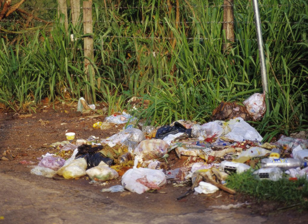 Stock Photo: 1558-92624 Island Sri Lanka, Colombo, roadside, Garbage,   Asia, South Asia, island state, capital, city, garbages, garbage pile, warete disposal, refuse, dirt, discards, carelessly, lie around, scatters, contamination, pollution, garbage problem, environmental prob