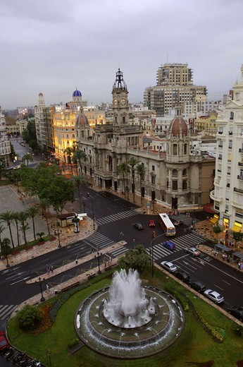 Spain, Valencia, old town, Plaza Del,  Ayuntamiento, fountains, overview,  from above,  Valencia-Stadt, main place, buildings, houses, hotels, place, water game, wells, water fountains, sight, cityscape, clouds, : Stock Photo