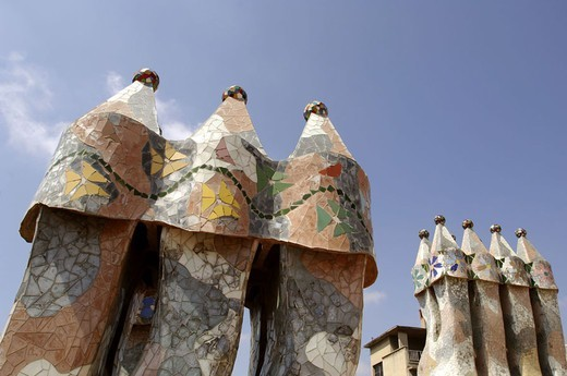 Stock Photo: 1558-93802 Spain, Barcelona, Casa Batllo,  Towers, detail,   Buildings, construction, Gaudi-Haus, Architect Antonio Gaudi, architecture, architecture, turrets, mosaic, facade formation, art, sight, concept, forms, lines, patterns, swung, artistic,