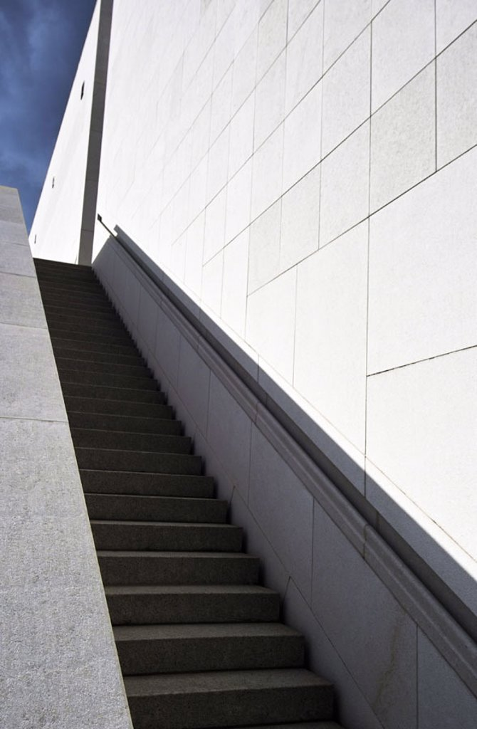Stock Photo: 1558-95763 Outside stairway, steps, hit shadows,    Series, buildings, architecture, stairway architecture, stairway, stairway ascent, outside, walls, handrail, forms, geometrically, light shadows heaven, clouds, concept, urbanity, dynamics, business, success, futur