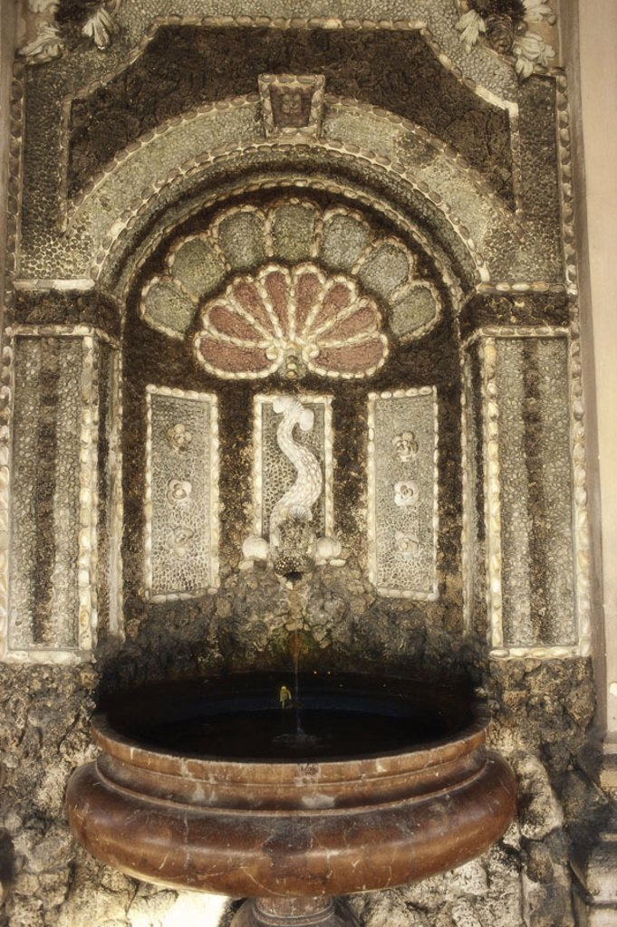 Germany, Bavaria, Munich,  Hofgarten, Diana temples, wells,  Mosaic, interior,  Upper Bavaria, park, park, grounds, temples, round temples, built well basins 1615, Heinriches Schön, stones, stone mosaic, wall, wall,  Sight, : Stock Photo