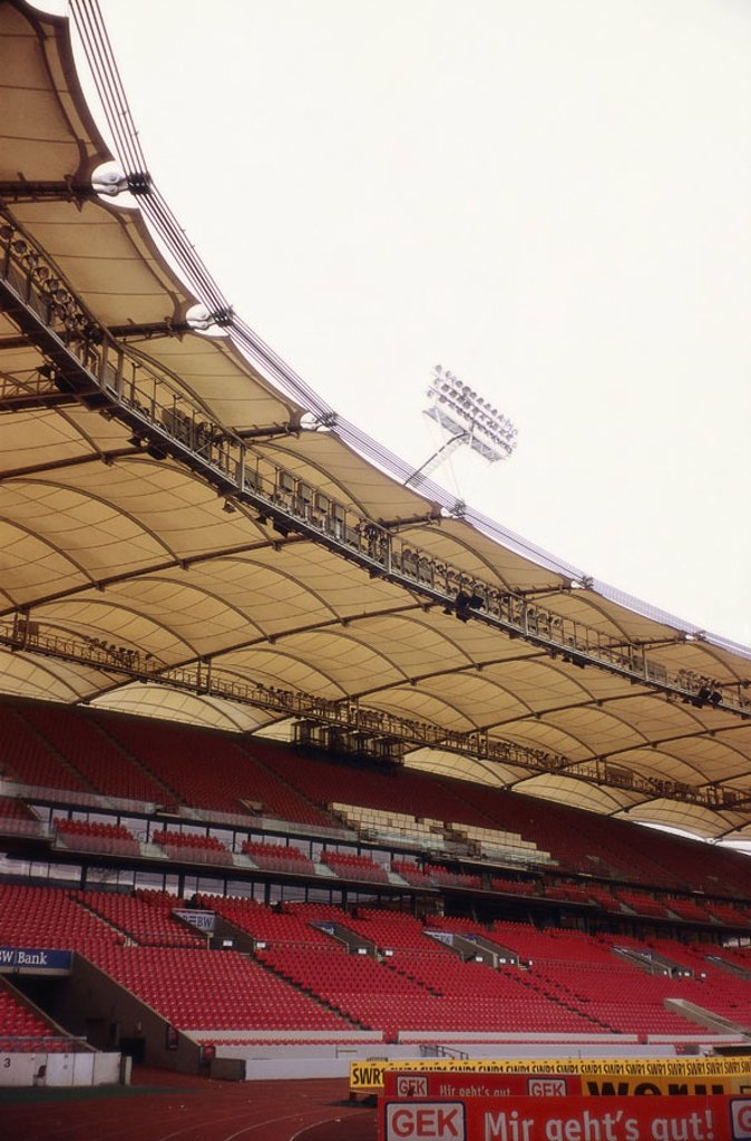 Germany, Baden-Württemberg,  Stuttgart, Gottlieb-Daimler-Stadion,  Platform, detail, no property release,  Series, Europe, football stadium, sport arena, football arena, outside, architecture construction built 1933, stadium, sport stadium, modernizes Spi : Stock Photo