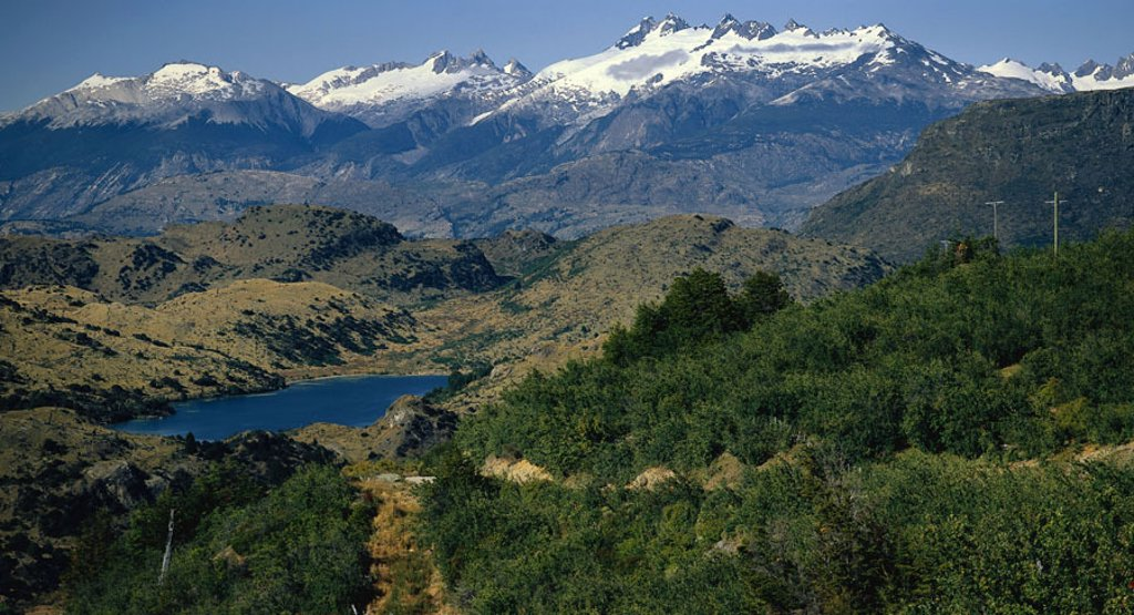 Chile, Pat agonies, Cochrane,  highland, snow,  South America, Carretera Austral, Panamerican Highway, mountains, mountains, mountain landscape, landscape, nature, vegetation, sea, : Stock Photo