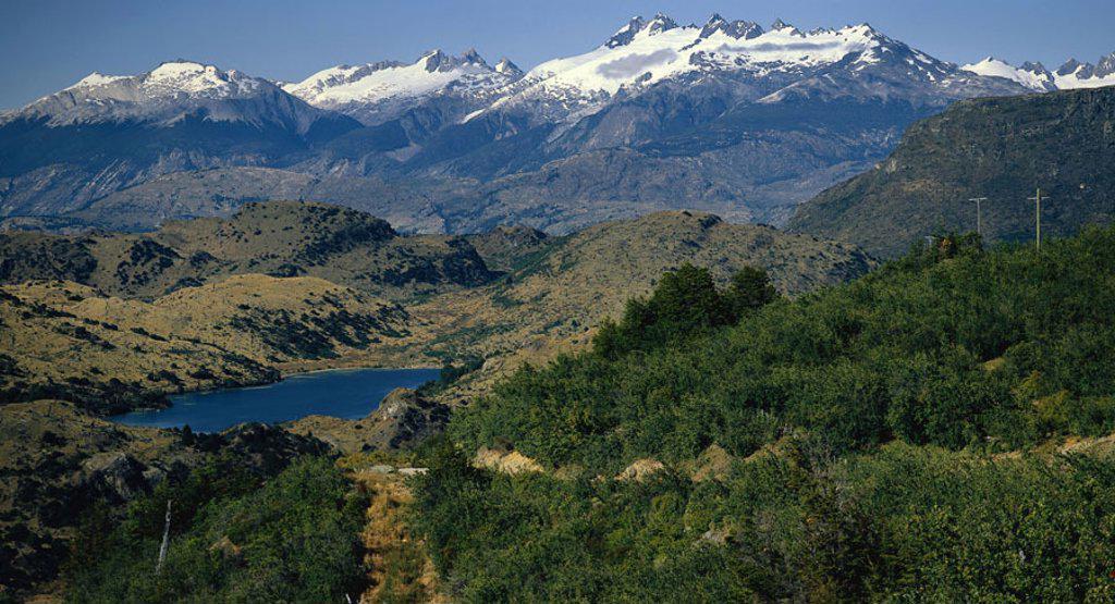 Stock Photo: 1558-97051 Chile, Pat agonies, Cochrane,  highland, snow,  South America, Carretera Austral, Panamerican Highway, mountains, mountains, mountain landscape, landscape, nature, vegetation, sea,
