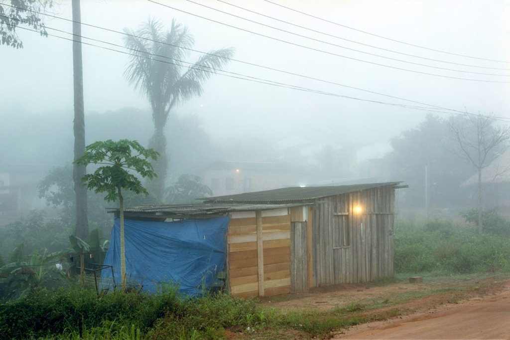 Brazil, Presidente Figueiredo,  Amazon area, jungle, cottage,  Fogs,  South America, Amazon, rain forest, outskirts, wood cottage, Favela, light, living, housing, poverty, : Stock Photo