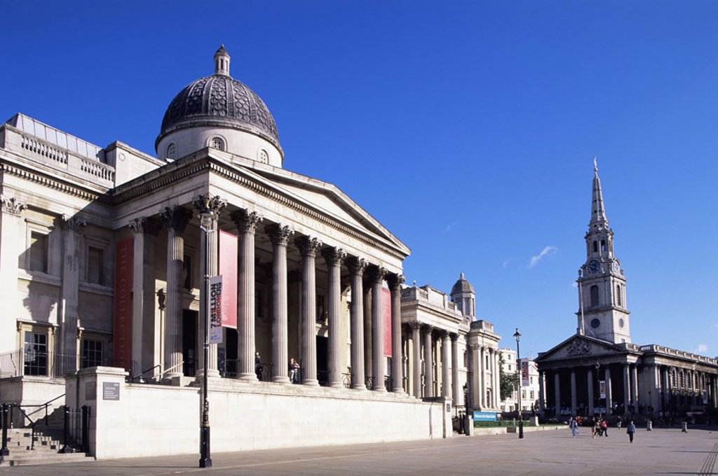 Great Britain, England, London,  Trafalgar Square, national Gallery,  Nationally Church of St-Martin-in-the-Fields, Capital, national gallery, buildings, museum, church, St. Martin, constructions, architecture, sight, destination, tourism, sightseeing, ci : Stock Photo