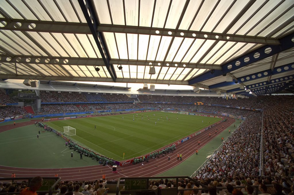 Germany, central franconia, Nuremberg,  Franconian stadium, soccer game,  only editorially,  Sport, football, stadium, sport stadium, football stadium, sport arena, football arena, game, seat rows, platform, grandstand, spectators, public, football fans, : Stock Photo