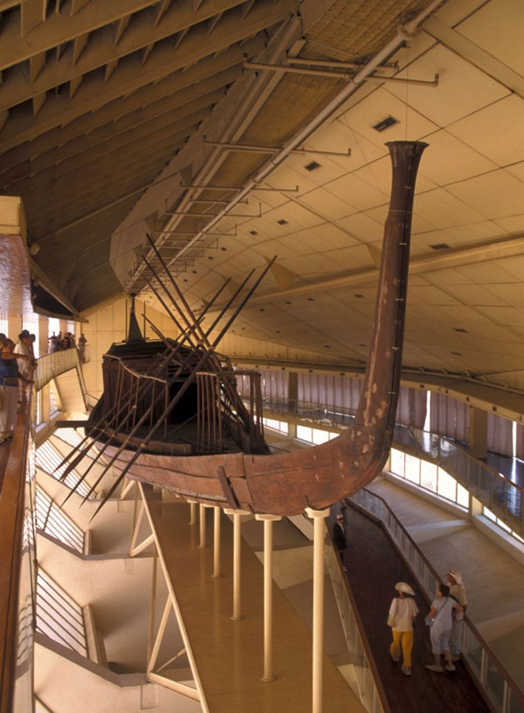 Egypt, Gizeh, museum, ship,  Tourists,   Boat museum, Cheops-Boot-Museum, boat, wood boat, cedar wood, sight, symbol, destination, tourism, concept, past, history, culture, traditions, tradition, : Stock Photo