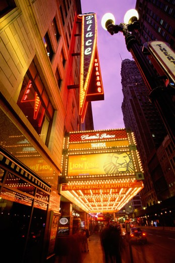 Low angle view of a sign at a theater, Palace Theatre, Chicago, Illinois, USA : Stock Photo