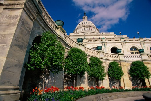 Low angle view of a government building, Capitol Building, Washington DC, USA : Stock Photo