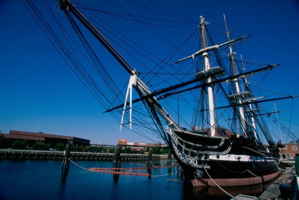 Sailing ship moored in a harbor, USS Constitution, Boston, Massachusetts, USA : Stock Photo