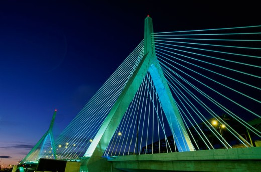 Stock Photo: 1561-340 Low angle view of a bridge lit up at night, Leonard P. Zakim Bunker Hill Bridge, Boston, Massachusetts, USA