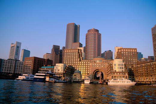 Stock Photo: 1561-351 Low angle view of buildings on the waterfront, Boston, Massachusetts, USA