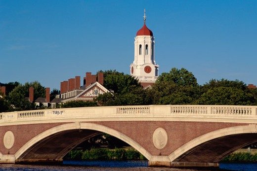 Stock Photo: 1561-361 Bridge across a river, Weeks Memorial Bridge, Cambridge, Massachusetts, USA