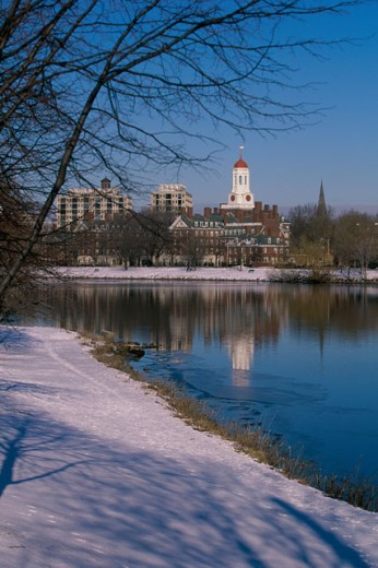Reflection of buildings in water, Dunster House, Harvard University, Cambridge, Massachusetts, USA : Stock Photo