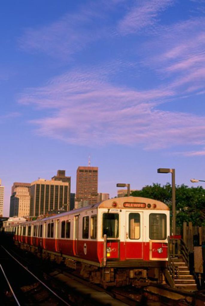 Train on a railroad track, Boston, Massachusetts, USA : Stock Photo