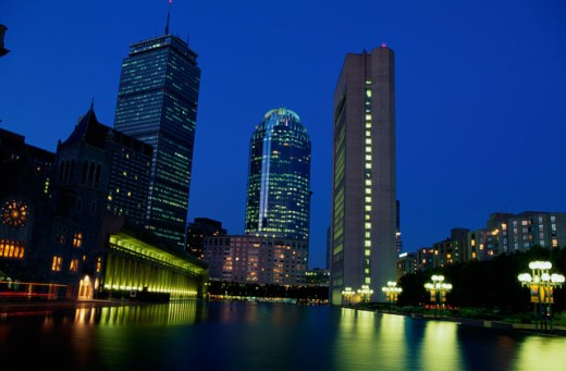 Skyscrapers lit up at night, Christian Science Center, Boston, Massachusetts, USA : Stock Photo