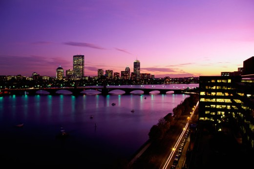Stock Photo: 1561-397 Silhouette of a bridge across a river, Charles River, Boston, Massachusetts, USA