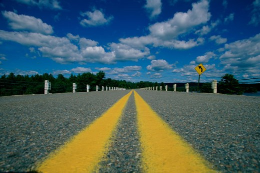 Stock Photo: 1561-417 Lines on a road, Massachusetts, USA