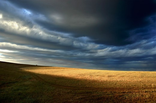 Storm clouds over a landscape, Eyre Peninsula, Australia : Stock Photo