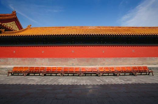 Stock Photo: 1565-237 Benches in front of a building, Forbidden City, Beijing, China