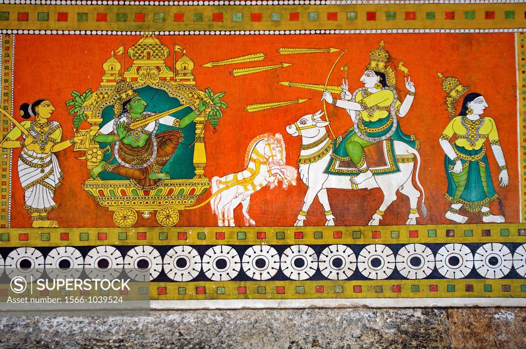 Sri Meenakshi temple,Murals vegetable and herbal dyes of Thiruvilayadal  Puranam Lord Shivas Game, the collection of 64 stories, composed by  Paranjyoti... Stock Photo 1566-1039524 : Superstock