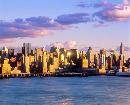 Mid-town Manhattan skyline. New York City, USA : Stock Photo