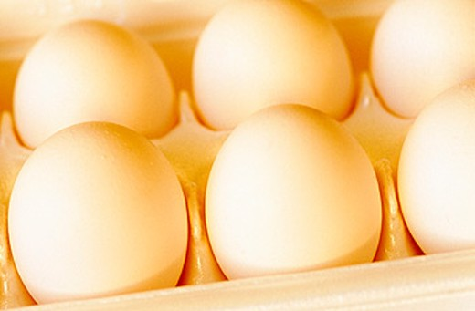 Stock Photo: 1566-0100634 Half a dozen eggs in carton
