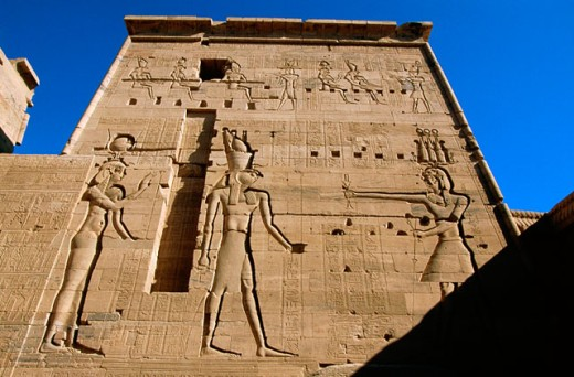 Detail of relief of temple. Philae. Aswan. Egypt : Stock Photo