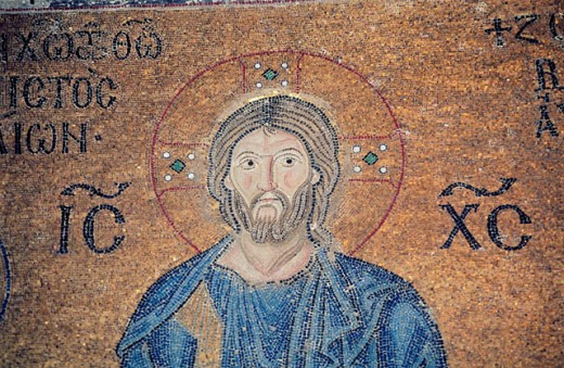 Mosaic with the representation of Jesus. Santa Sofia. Istanbul. Turkey : Stock Photo