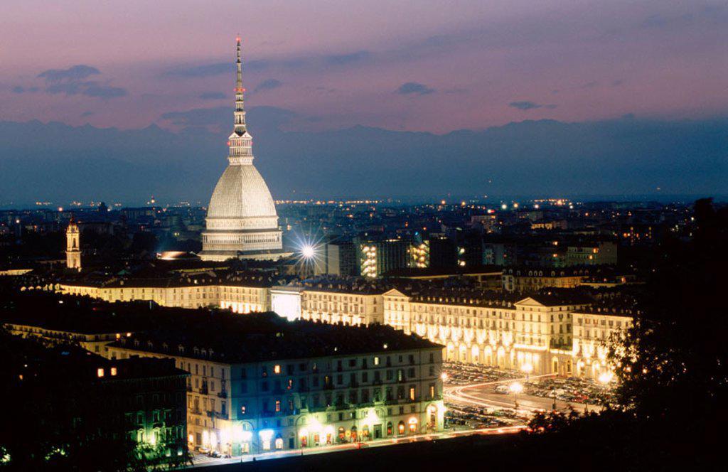 Mole Antonelliana (167,5 m), a symbol of the city of Torino. Piedmont, Italy : Stock Photo