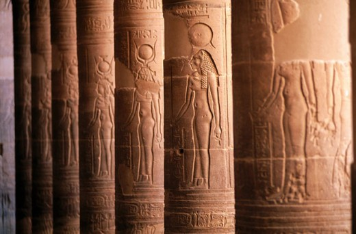 Columns of temple. Philae. Aswan. Egypt : Stock Photo