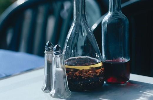 Salt, pepper and vinegar : Stock Photo