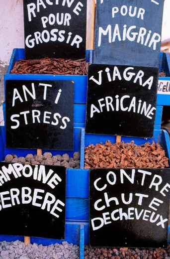 Stock Photo: 1566-0105768 Spices and aphrodisiacs stall at souk in the medina (old town). Essaouira. Morocco