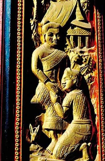 Stock Photo: 1566-0106033 Relief at Wat Ongtu (aka Wat Ong Teu). Vientiane. Laos