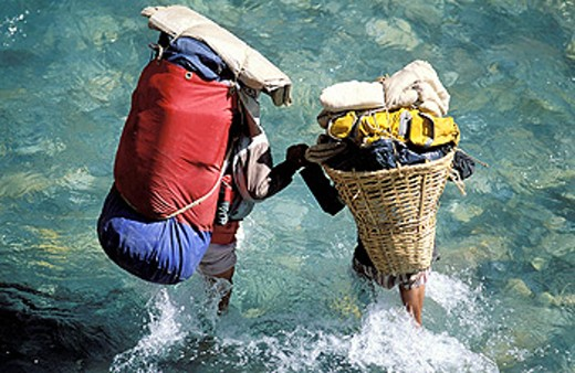 Stock Photo: 1566-0106230 Carriers. Himalaya. Nepal