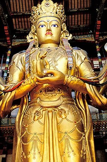 Avalokitesvara statue. Gandan Monastery. Ulan Bator. Mongolia : Stock Photo