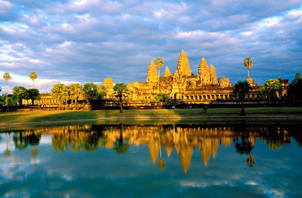 Temple complex of Angkor Wat. Angkor. Cambodia : Stock Photo