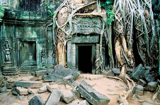 Ta Prohm temple, complex of Angkor Wat. Angkor. Cambodia : Stock Photo