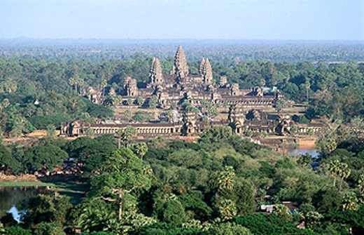 Stock Photo: 1566-0106810 Overview of Angkor Wat. Angkor. Siem Reap. Cambodia