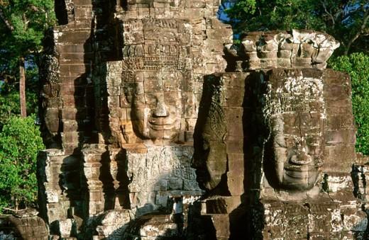 Stock Photo: 1566-0106820 Bayon Temple in Angkor. Siem Reap. Cambodia