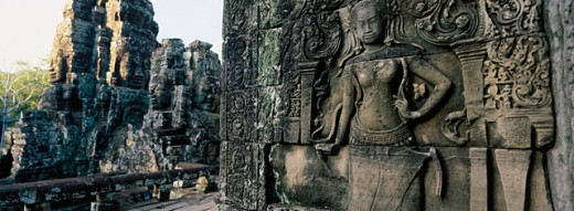 Sculpture in Bayon Temple in Angkor. Cambodia. Asia : Stock Photo