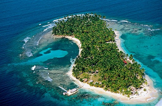Aerial view of an island. San Blas Archipielago. Panama : Stock Photo