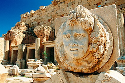Relief of Medusa at Roman Forum. Leptis Magna. Libya : Stock Photo