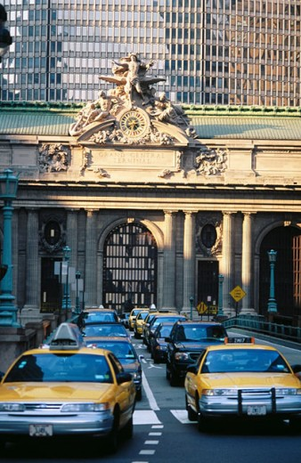 Taxis in the street in front of Grand Central Station. New York City. USA : Stock Photo
